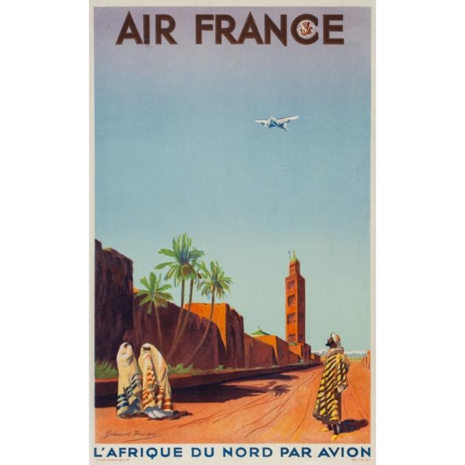 Vintage travel poster - Guiraud Rivière - 1934 - L'Affrique Du Nord Par Avion Air France - Small Size - 19.7 by 11.8 inches