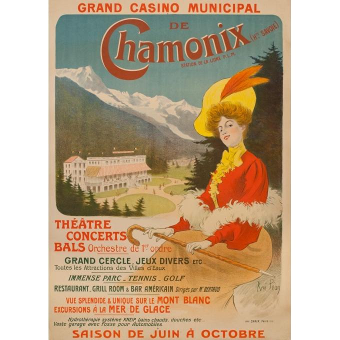 Vintage travel poster - René Péan - 1905 - Grand Casino Municipal De Chamonix - 48.6 by 34.6 inches