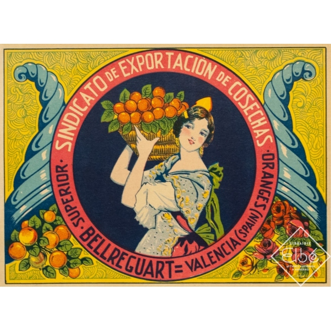 Etiquette vintage originale - Circa 1940 - Orange - Valence-Valencia - 26.5 par 19.5 cm