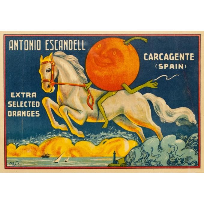 Vintage label - Masia - Circa 1940 - Orange Antonio Escandell - 10.6 by 7.5 inches