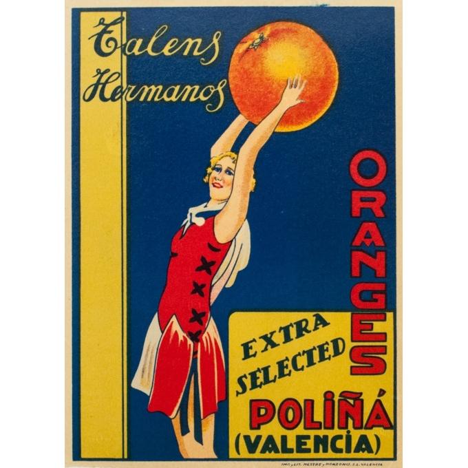 Vintage label - Circa 1940 - Orange Talens Hermanos - Valence Valencia - 8.9 by 6.5 inches