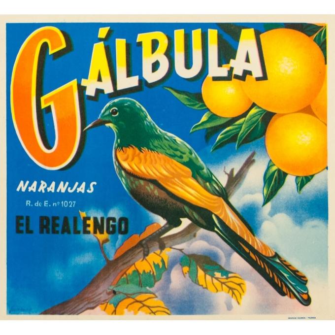 Vintage label - Juanino - Circa 1940 - Orange Galbula - 11 by 10.2 inches