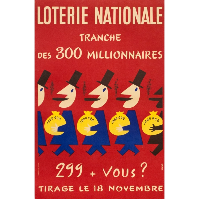 Vintage advertising poster - Grove - Circa 1950 - Lotterie Nationale Tranche Des 300 Millionaires - 23.2 by 15.2 inches