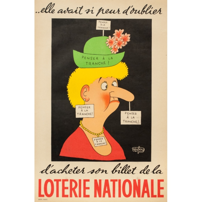 Vintage advertising poster - Dubout - Circa 1950 - Loterie Nationale - 23.2 by 15.4 inches