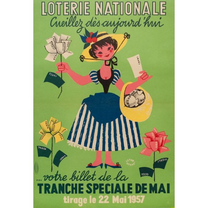 Vintage advertising poster - Lefor Openo - 1957 - Lotterie Nationale Cueillez Dès Aujourd-Hui - 22.8 by 15.6 inches