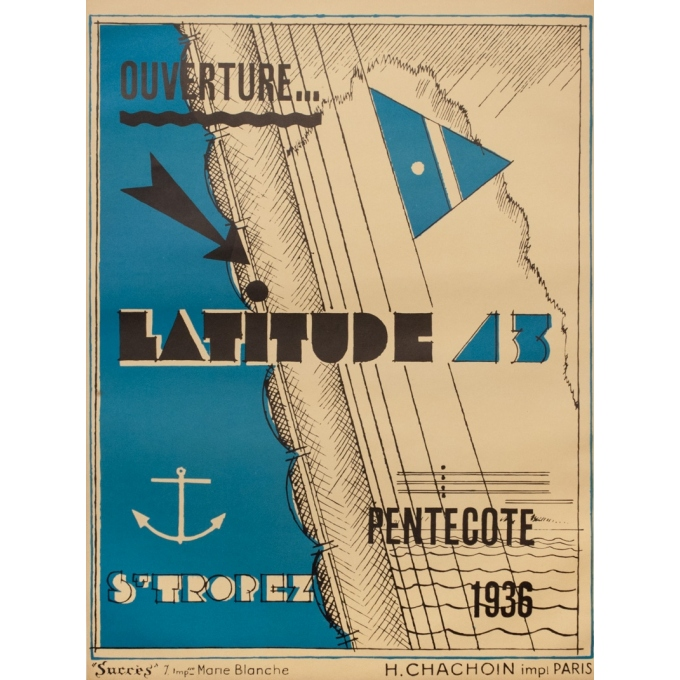 Vintage advertising poster - 1936 - Ouverture Lattitude 43 Saint-Tropez - 28.2 by 20.9 inches