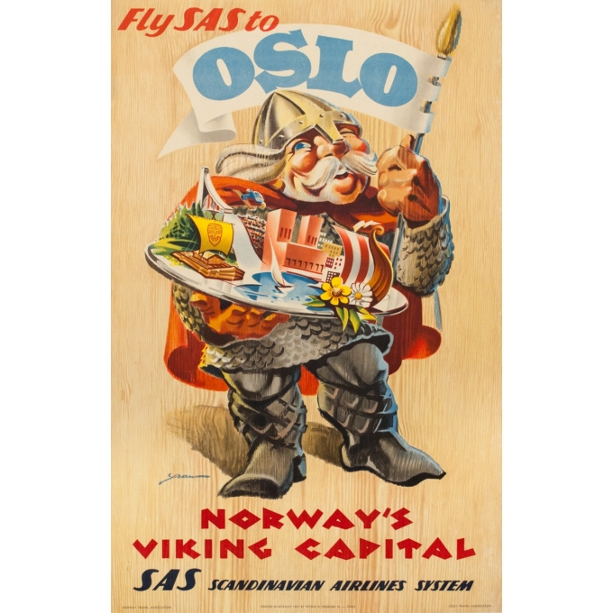 Vintage travel poster - Yran - 1957 - Fly Sas To Oslo - 35 by 24.8 inches