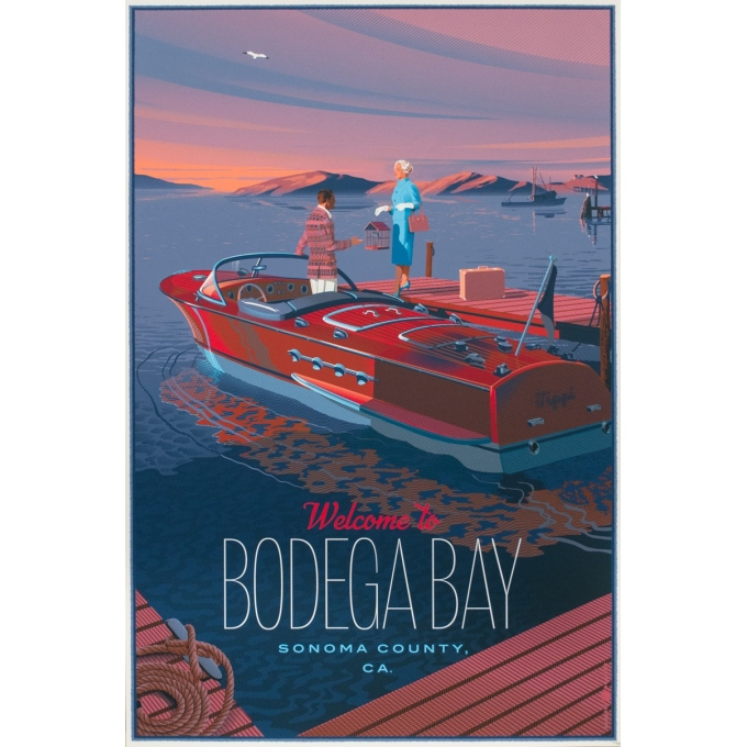 Affiche sérigraphiée originale - Laurent Durieux - 2020 - Welcome to Bodega Bay - Variante - N°60/185 - 92 par 61 cm