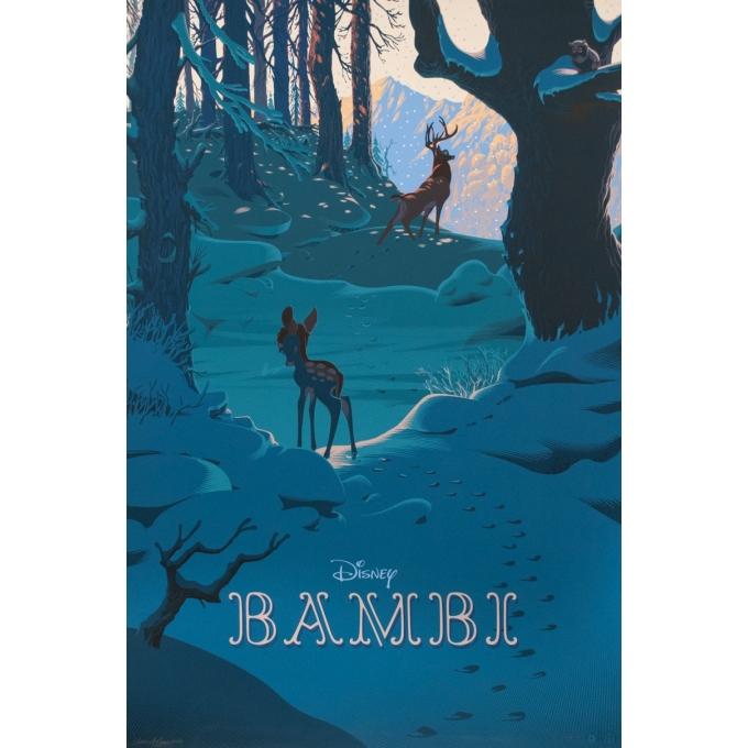 Affiche sérigraphiée originale - Laurent Durieux - 2017 - Bambi - Signée - N°2/40 - 91.5 par 62 cm