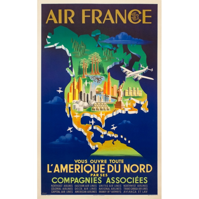 Vintage travel poster - Plaquet - 1951 - Air France Amérique Du Nord - 39.4 by 23.6 inches