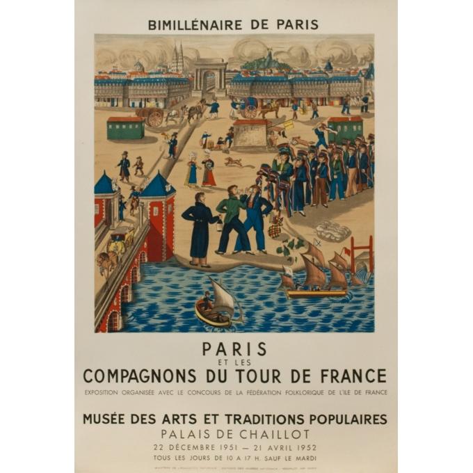 Vintage exhibition poster - 1952 - Paris et les compagnons du tour de France - 25.6 by 17.5 inches