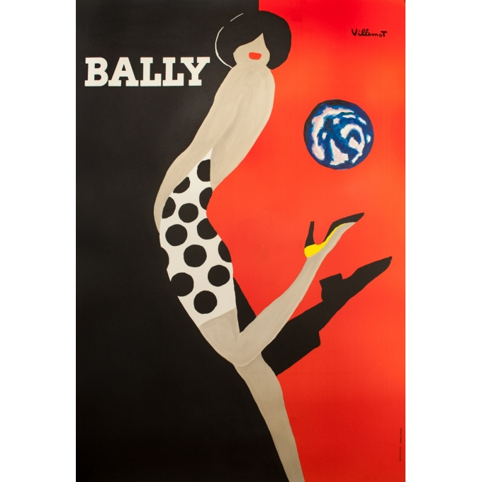 Vintage advertising poster - Villemot  - 1989 - Bally - 66.9 by 47.2 inches