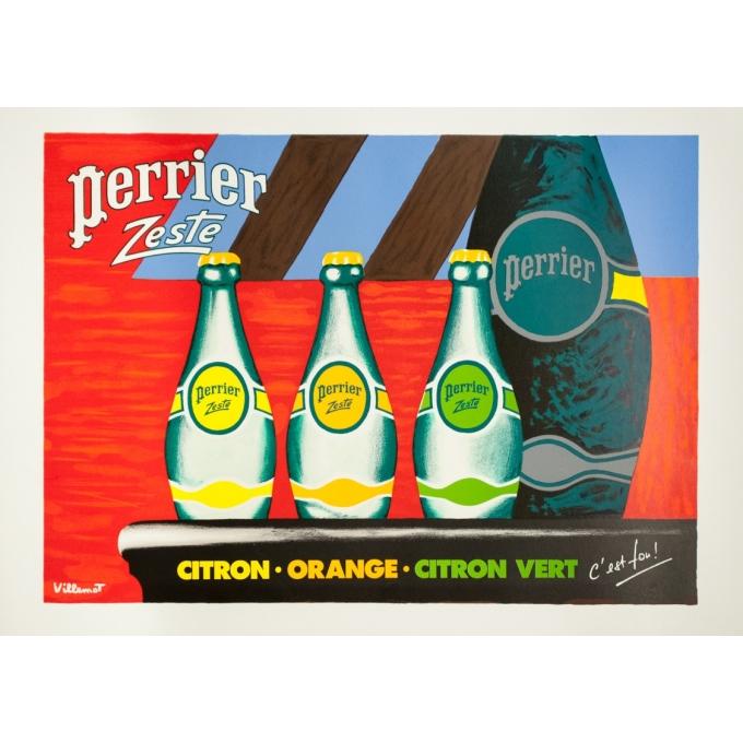 Original silkscreen print - Villemot - Circa 1990 - Perrier Zesté - 29.9 by 21.6 inches