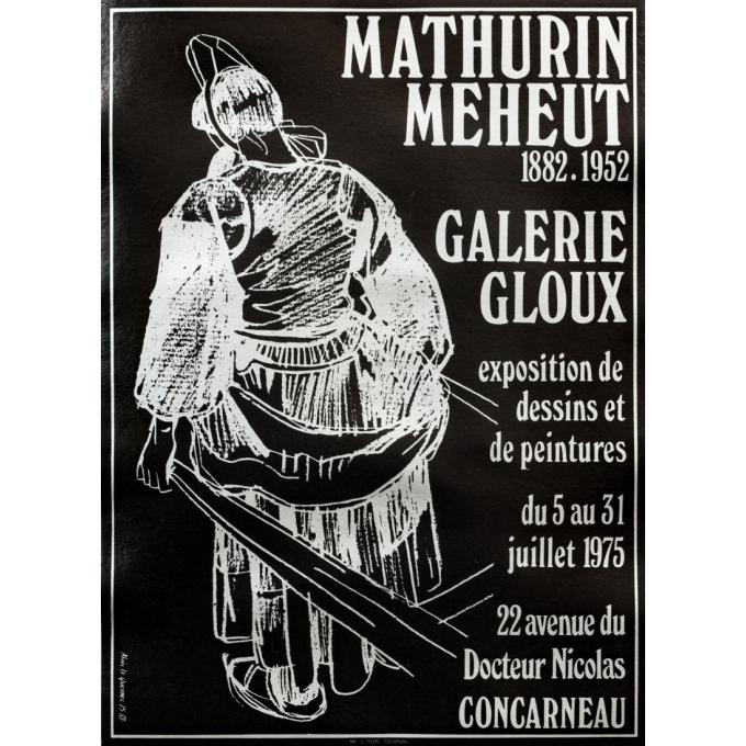 Affiche ancienne d'exposition - Alain Le Quernec - 1975 - Mathurin Meheut, à Concarneau - 53 par 39 cm