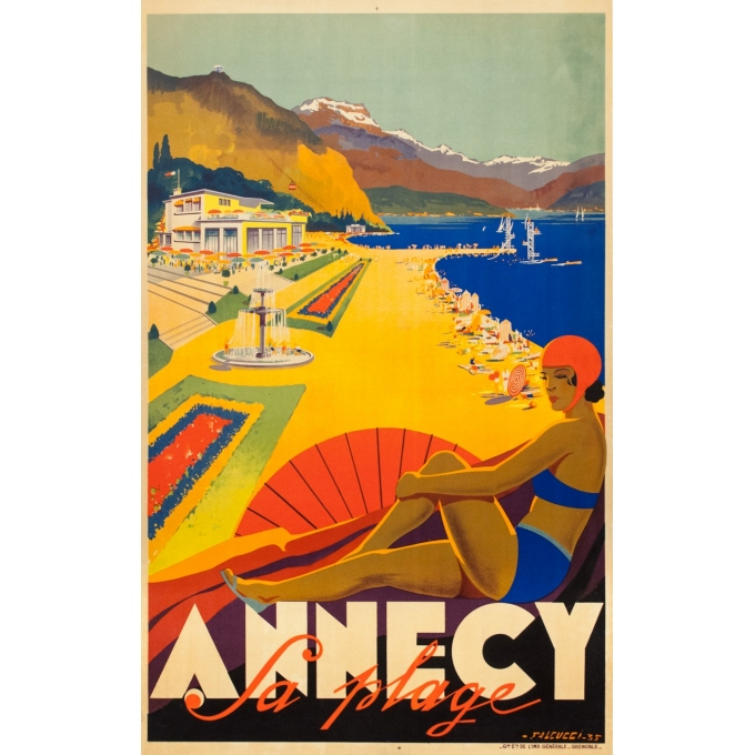 Vintage travel poster - Falcucci - 1935 - Annecy - 38.2 by 24 inches