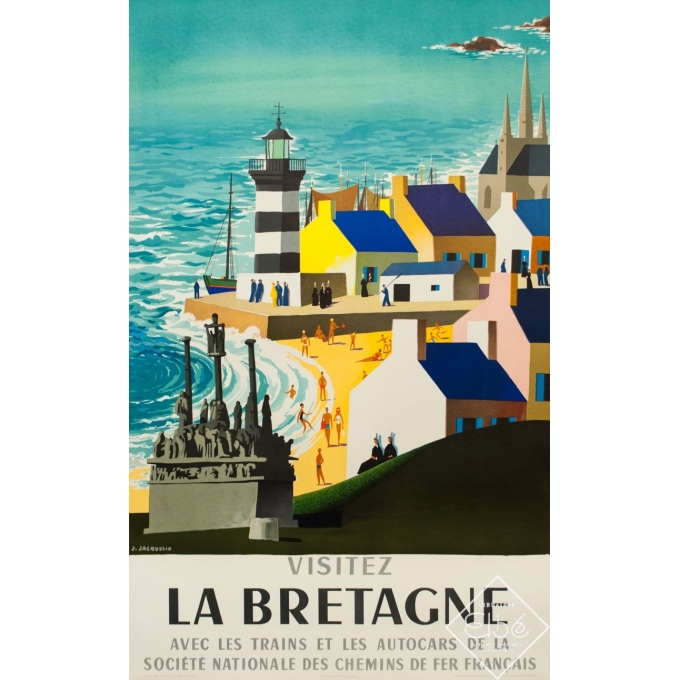 Vintage travel poster - J.Jacquelin - 1965 - Visitez la Bretagne - 39.4 by 24.8 inches