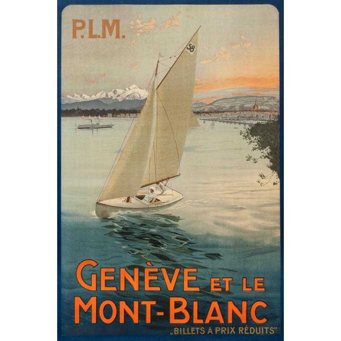 Affiche ancienne de voyage - Circa 1920 - Genève et le Mont Blanc - PLM - 102 par 67 cm