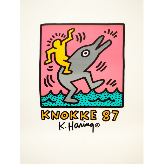 Vintage exhibition poster - Keith Haring - 1987 - Knock - 28.7 by 20.9 inches