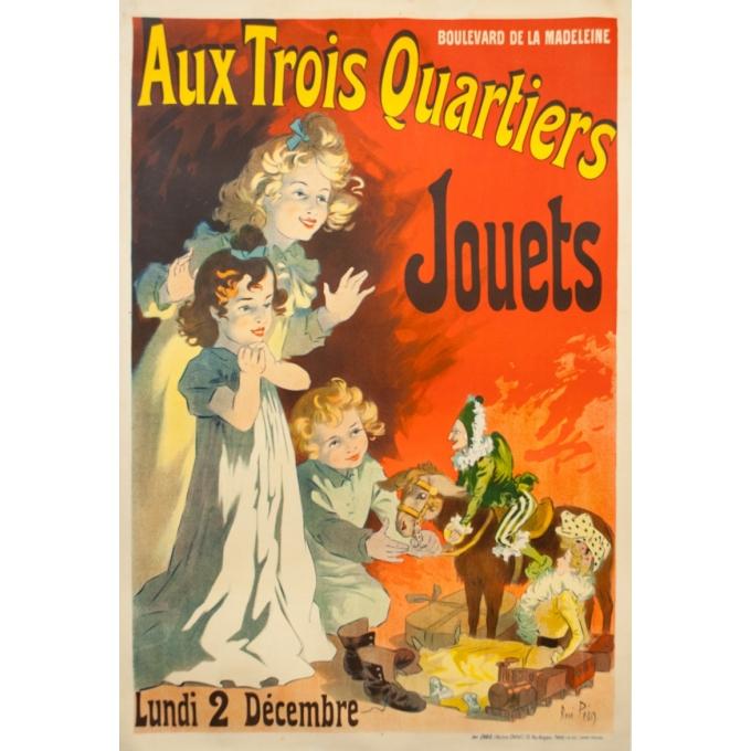 Affiche ancienne de publicité - René Péan - 1901 - Trois Quartiers Jouets - 162 par 109 cm