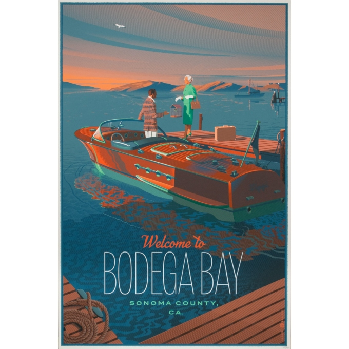 Original movie poster - Laurent Durieux - 2020 - Bodega Bay, regular n°340/450 - 35.8 by 24 inches