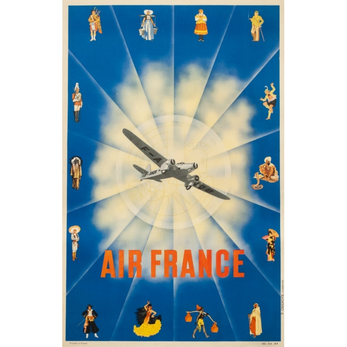 Vintage travel poster - 1938 - Air France Avion - 38.2 by 24.2 inches