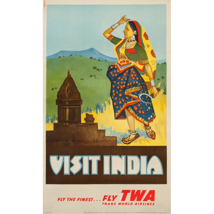 Vintage travel poster Circa 1950 - Visit India - Inde Twa - 40.2 by 24.4 inches