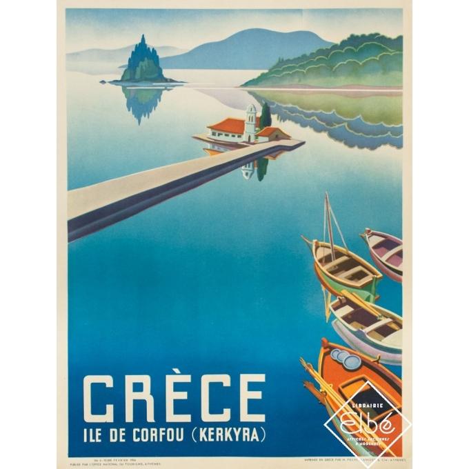 Affiche ancienne de voyage - 1954 - Ile de Corfou (Kerkyra) - Grèce - 78.5 par 60 cm