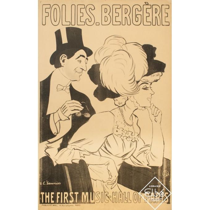Vintage exhibition poster - E.Saunier - 1908 - Folie Bergère - 48 by 31.5 inches - 2