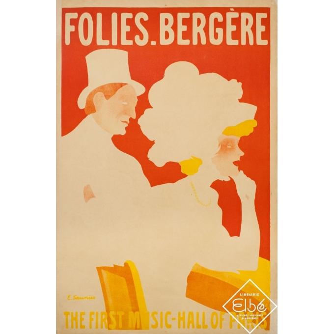 Vintage exhibition poster - E.Saunier - 1908 - Folie Bergère - 48 by 31.5 inches - 3