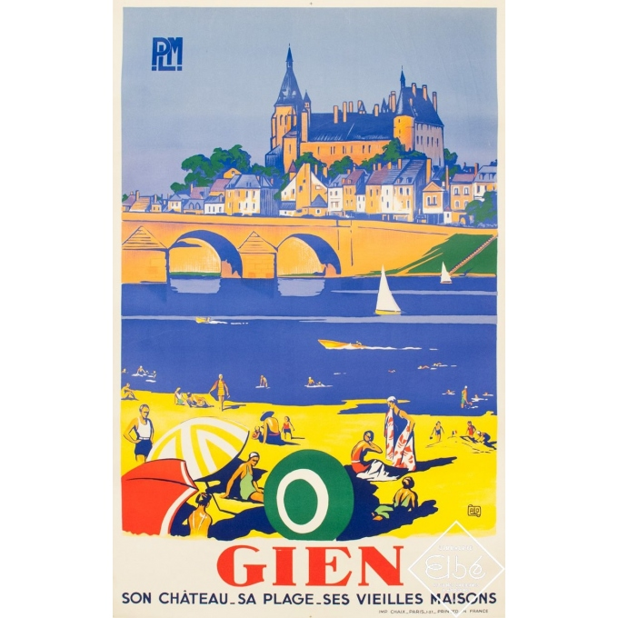 Vintage travel poster - Charles Hallo - 1937 - Gien PLM - 39.4 by 24.8 inches