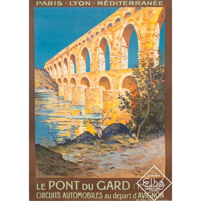 Vintage travel poster - Couronneau - 1924 - Le Pont du Gard - PLM - 40.4 by 28.7 inches
