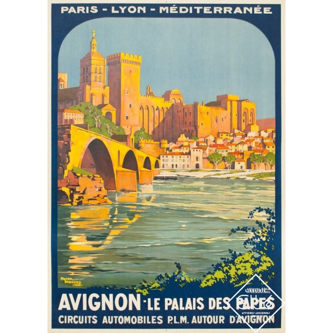 Vintage travel poster - Roger Broders - 1922 - Avignon le Palais des Papes PLM - 41.7 by 29.9 inches