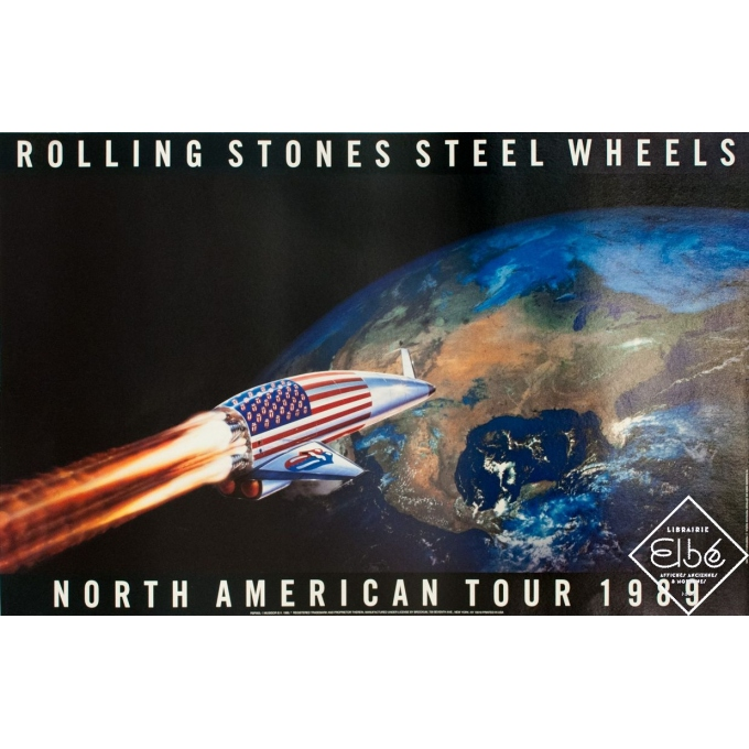 Original advertising poster - 1989 - Rolling Stones Steel Wheels - 34.4 by 22.4 inches