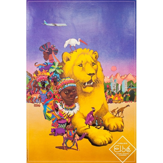 Vintage travel poster - Circa 1980 - UTA Afrique Centrale - 38.4 by 26 inches
