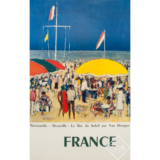 Vintage travel poster - D'Après Van Dongen - Circa 1960 - Deauville - France - 39.2 by 24.6 inches