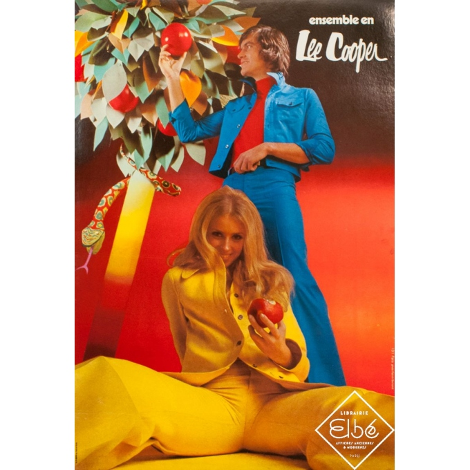 Vintage advertising poster - Patrick Bertrand - Circa 1975 - Ensemble en Lee Cooper - 30.7 by 20.9 inches