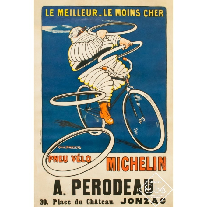 Vintage advertising poster - Roowy - 1912 - Pneu Vélo Michelin - 47.8 by 31.9 inches