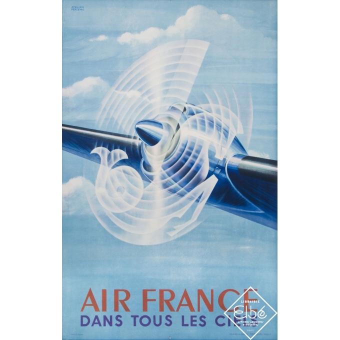 Vintage travel poster - Atelier Perceval - 1948 - Air France - Dans Tous Les Ciels - 39,4 by 23,6 inches