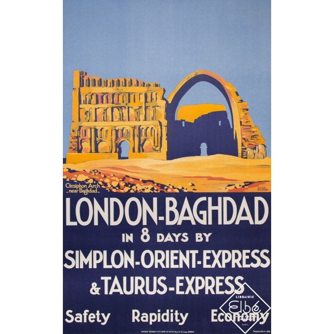 Vintage travel poster - Roger Broders - 1931 - London - Baghdad - 39,4 by 25 inches