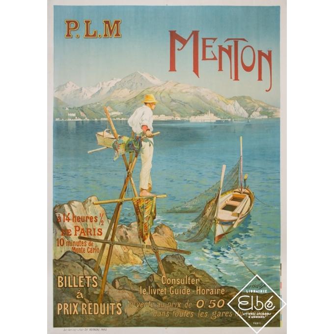 Affiche ancienne de voyage - E.Lessieux - 1905 - Menton - PLM - 107 par 78 cm