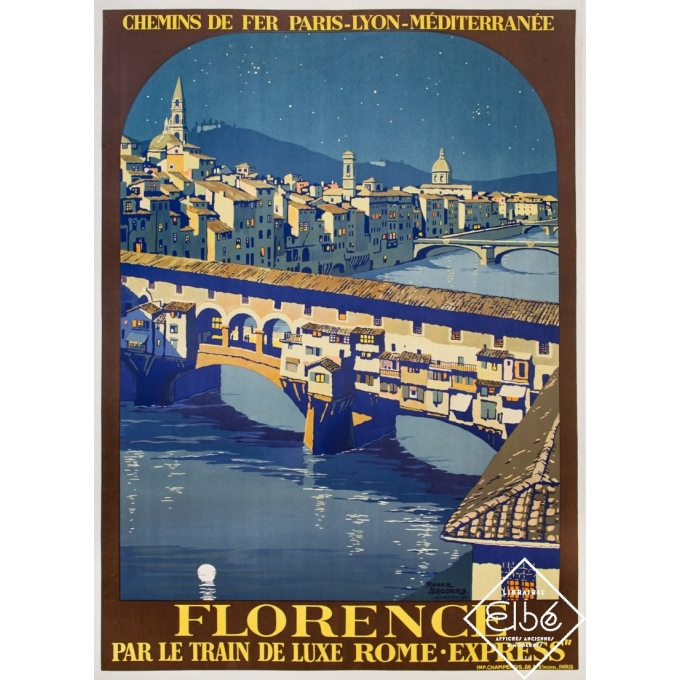 Vintage travel poster - Roger Broders - 1921 - Florence Par Le Train de Luxe Rome Express - PLM - 40,6 by 29,9 inches