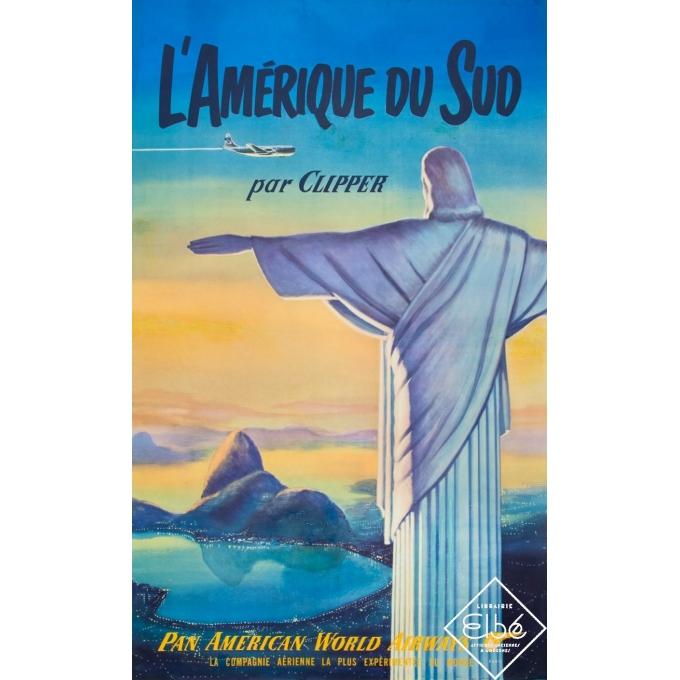 Vintage travel poster - Circa 1950 - L'Amérique du Sud par Clipper - 40,2 by 25 inches