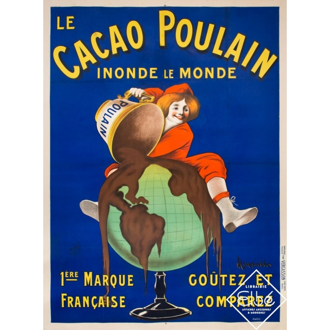 Vintage advertising poster - Leonetto Cappiello - 1911 - Le Cacao Poulain - 62,6 by 47,4 inches