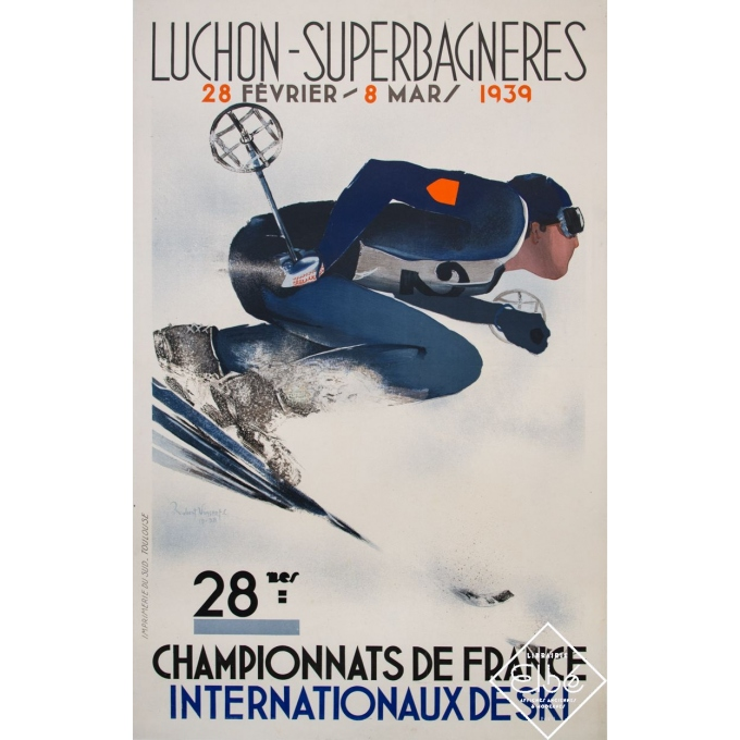 Vintage travel poster - Robert Vincent - 1939 - Luchon - Superbagnères - 39 by 24,8 inches