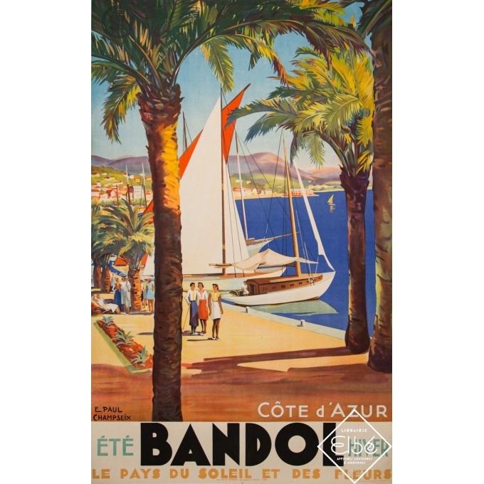 Vintage travel poster - E. Paul Champseix - Circa 1930 - Bandol - Côte d'Azur - 39,4 by 24,2 inches