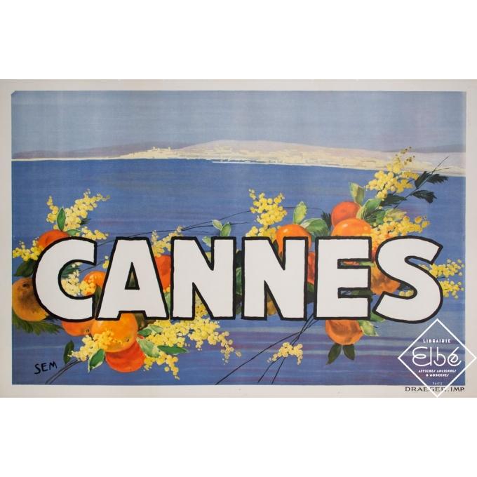 Affiche ancienne de voyage - Sem - Circa 1920 - Cannes - 120 par 80 cm
