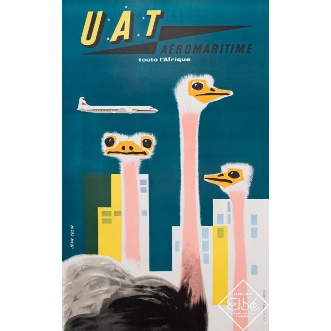 Affiche ancienne de voyage - Jean Colin - Circa 1950 - UAT Aéromaritime toute l'Afrique - 99,5 par 63 cm