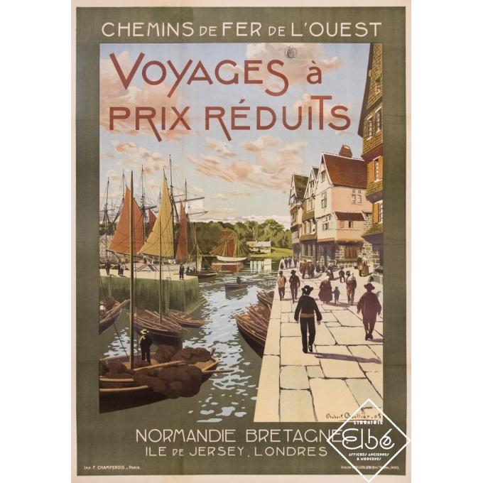 Vintage travel poster - Robert Boullier - 1905 - Normandie Bretagne Chemins de Fer de l'Ouest - 43,9 by 30,9 inches