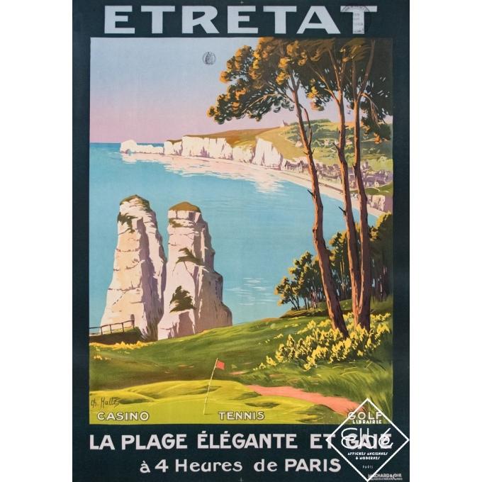 Affiche ancienne de voyage - Charles Hallés - Circa 1920 - Etretat - La plage élégante et gaie - 106 par 75 cm