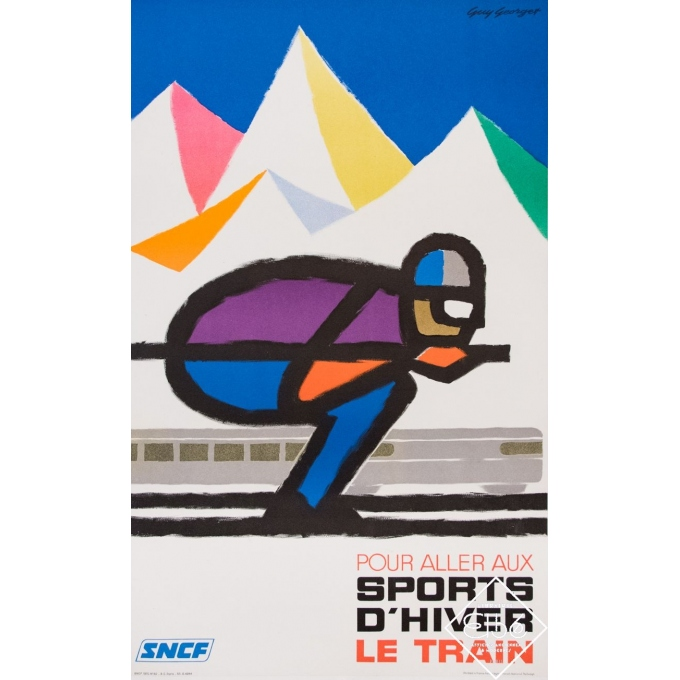 Vintage travel poster - Guy Georget - 1970 - SNCF - sports d'hiver - 39,8 by 24,4 inches